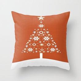 Christmas Tree Made Of Snowflakes On Orange Background Throw Pillow