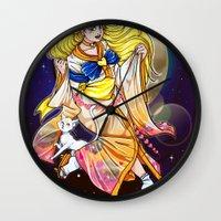 sailor venus Wall Clocks featuring Sailor venus by Sophira-lou