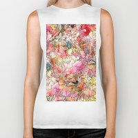 preppy Biker Tanks featuring Summer Flowers | Colorful Watercolor Floral Pattern Abstract Sketch by Girly Trend