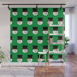 Christmas Snowmen With Top Hats Pattern Wall Mural
