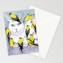 Cat Covered in Goldfinches Stationery Cards