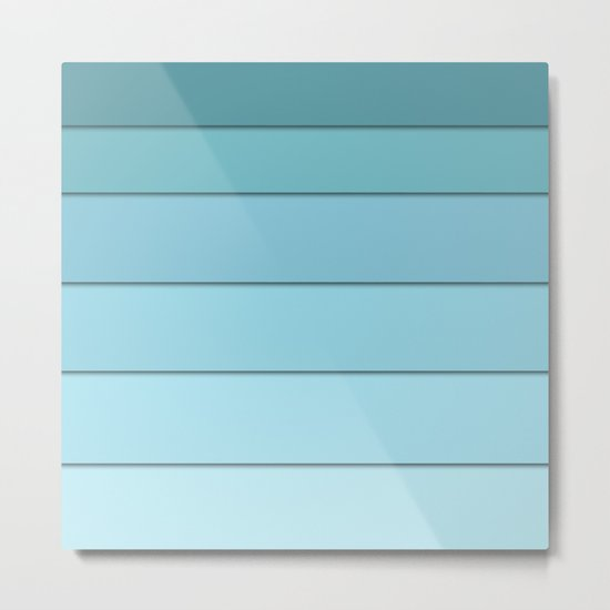 Colorful geometric striped pattern in shades of blue . Metal Print