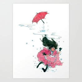 Playing in Puddles Art Print