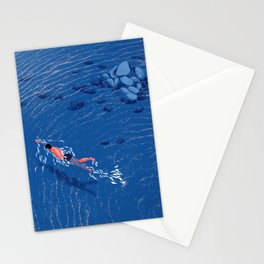 Swimming alone in the sea at night Stationery Cards