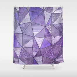 Purple Lilac Glamour Shiny Stained Glass Shower Curtain