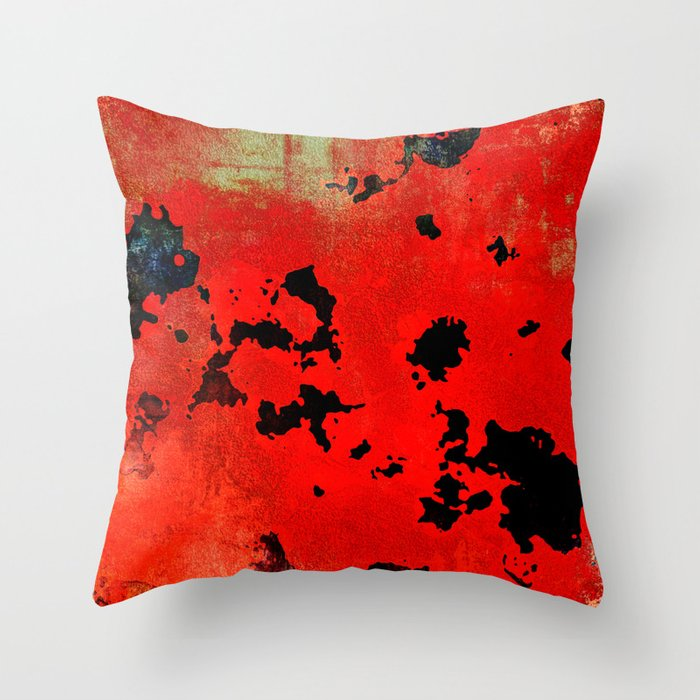 Red Modern Contemporary Abstract Textured Design Throw Pillow By Artaddiction45