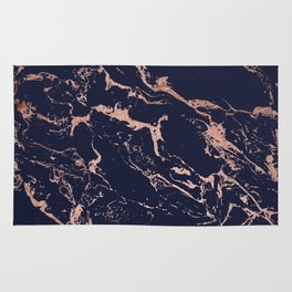 Modern chic navy blue rose gold marble pattern Rug