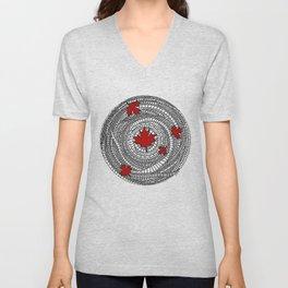 Canadian Maple Red Unisex V-Neck