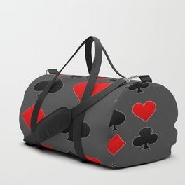 RED & BLACK PLAYING CARD  ART ON CHARCOAL GREY Duffle Bag
