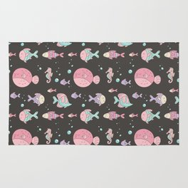 Modern hand painted pink teal lavender nautical fishes Rug