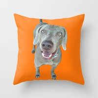 caleb troy Throw Pillows featuring Caleb dog by Pop Art Pet Portraits