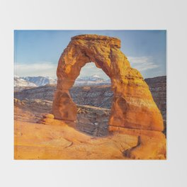 Delicate Arch Sunset Arches National Park Moab Utah Landscape Throw Blanket