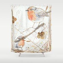 Kleine rote Vögelchen (Little red birdies) Shower Curtain