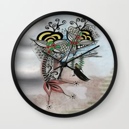 The Swing Colorful Ink drawing Art by Saribelle Wall Clock