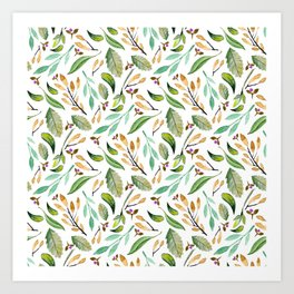 Botanical hand painted watercolor forest green brown foliage Art Print