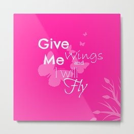 Inspiration Wings - Pink Metal Print