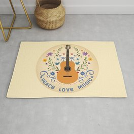 Peace Love And Music Folk Guitar Badge Rug