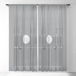 Golf Clubs and Ball Sheer Curtain