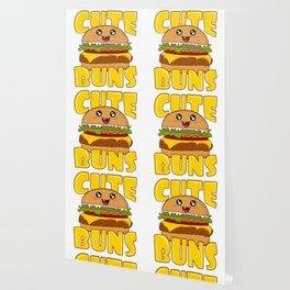 """Cute Buns"" Delicious Burger Hamburger T-shirt Design Patty Buns Grilled Charcoal Cooked Ham Wallpaper"