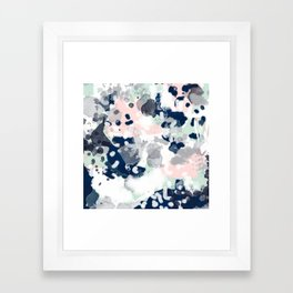 Melia - abstract minimal painting acrylic watercolor nursery mint navy pink Framed Art Print