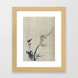 Kano Tan'yū Squirrel on Bamboo Framed Art Print