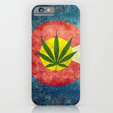 Retro Colorado State flag with the leaf - Marijuana leaf that is! Slim Case iPhone 6