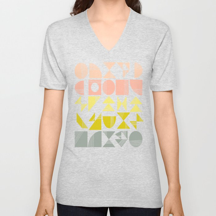 Organic Abstract Shapes in Soft Pastel Colors Unisex V-Neck