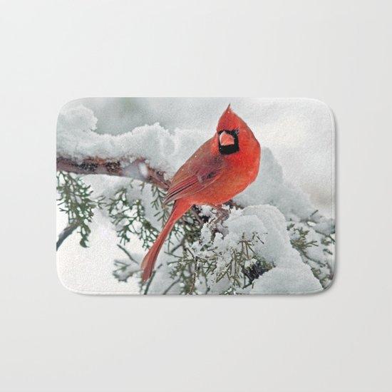 Cardinal on Snowy Branch #3 Bath Mat