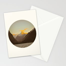 MidCentury Modern Circle Photo Parallax Mountains Distant Snow Capped Mountain With Yellow Tip Stationery Cards