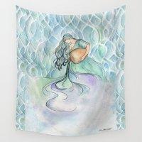 aquarius Wall Tapestries featuring Aquarius by Aline Souza de Souza