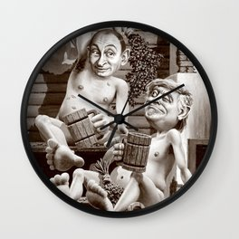 Putin and Trump in the Russian bath Wall Clock