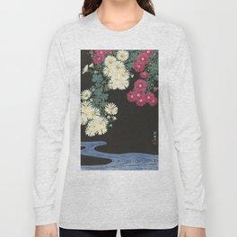 Chrysanthemums and Running Water Long Sleeve T-shirt