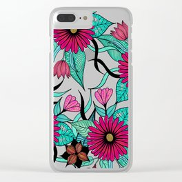Girly Pink and Teal Watercolor Floral Illustration Clear iPhone Case