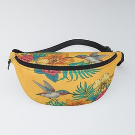 Hummingbirds and tropical bouquet in yellow Fanny Pack