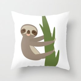 Three-toed sloth on green branch on white background Throw Pillow