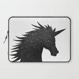 Black Glitter Unicorn Laptop Sleeve
