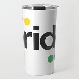 Gay Pride Flag color dots helvetica Travel Mug