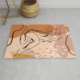Sensual sitting woman line art, Abstract monstera leaf illustration, Organic floral background Rug