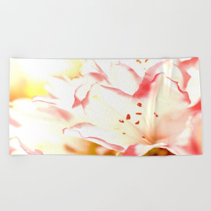 Dreamy Flowers Pink White Color #decor #society6 Beach Towel