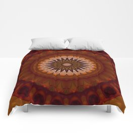 Mandala in red and orange tones Comforters