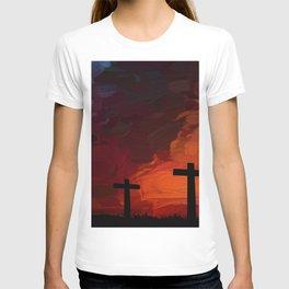 Religious Painting Artwork Cross Landscape T-shirt
