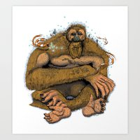 sasquatch Art Prints featuring Sasquatch by Gregery Miller