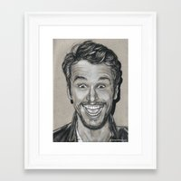james franco Framed Art Prints featuring James Franco In Charcoal by The Art of Mia Rivera