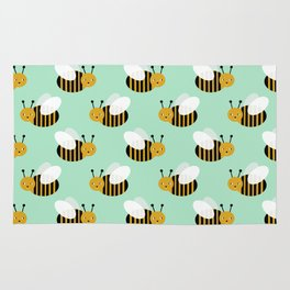 Bee pattern print mint honey bees nature inspired cute nursery kids gender neutral pattern Rug