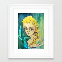 elsa Framed Art Prints featuring Elsa by Hilary Dow