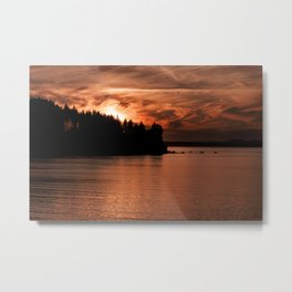 Red Sky At Night Photography Print Metal Print
