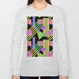Neon Ombre 90's Striped Shapes Long Sleeve T-shirt