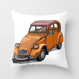 Orange 2CV Throw Pillow