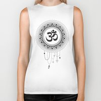 ohm Biker Tanks featuring Ohm Mandala by Lea Gregersen