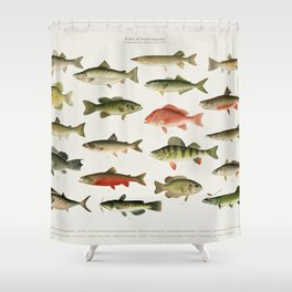 Illustrated North America Game Fish Identification Chart Shower Curtain